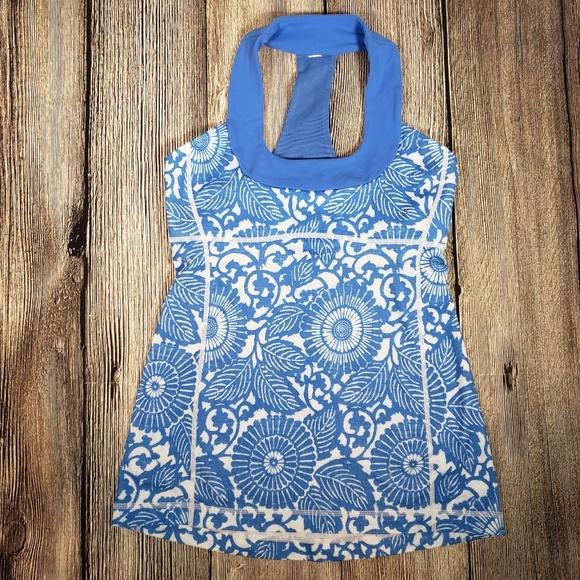 lululemon athletica Tops - Lululemon blue floral racerback tank size 6
